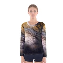 Tree Art Artistic Abstract Background Women s Long Sleeve Tee