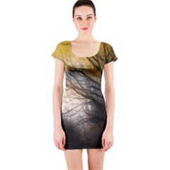Tree Art Artistic Abstract Background Short Sleeve Bodycon Dress