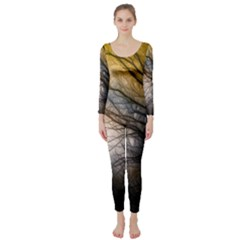 Tree Art Artistic Abstract Background Long Sleeve Catsuit