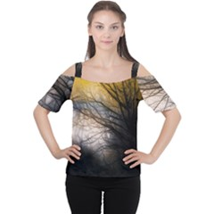 Tree Art Artistic Abstract Background Women s Cutout Shoulder Tee