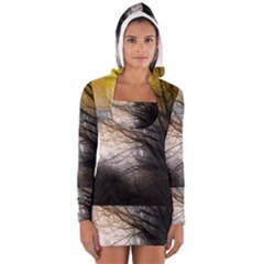 Tree Art Artistic Abstract Background Women s Long Sleeve Hooded T-shirt