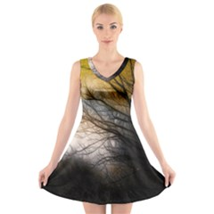 Tree Art Artistic Abstract Background V Neck Sleeveless Skater Dress