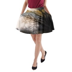 Tree Art Artistic Abstract Background A-Line Pocket Skirt