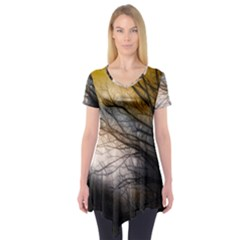 Tree Art Artistic Abstract Background Short Sleeve Tunic