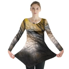Tree Art Artistic Abstract Background Long Sleeve Tunic