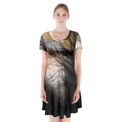 Tree Art Artistic Abstract Background Short Sleeve V-neck Flare Dress