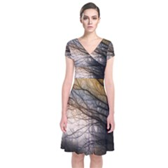Tree Art Artistic Abstract Background Short Sleeve Front Wrap Dress