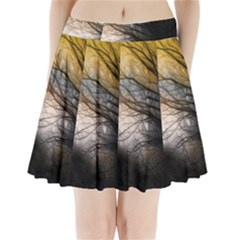 Tree Art Artistic Abstract Background Pleated Mini Skirt