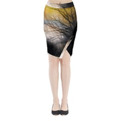 Tree Art Artistic Abstract Background Midi Wrap Pencil Skirt