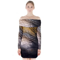 Tree Art Artistic Abstract Background Long Sleeve Off Shoulder Dress
