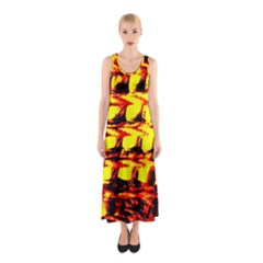 Yellow Seamless Abstract Brick Background Sleeveless Maxi Dress