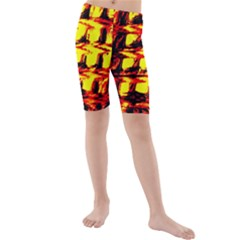 Yellow Seamless Abstract Brick Background Kids  Mid Length Swim Shorts