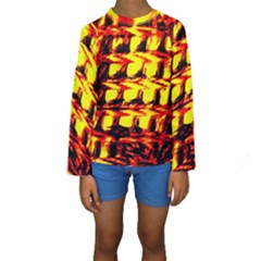 Yellow Seamless Abstract Brick Background Kids  Long Sleeve Swimwear