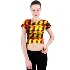 Yellow Seamless Abstract Brick Background Crew Neck Crop Top