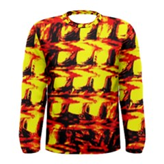 Yellow Seamless Abstract Brick Background Men s Long Sleeve Tee