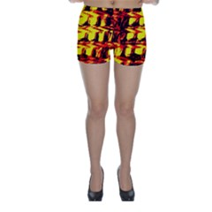 Yellow Seamless Abstract Brick Background Skinny Shorts