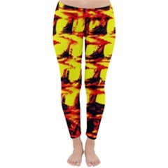 Yellow Seamless Abstract Brick Background Classic Winter Leggings