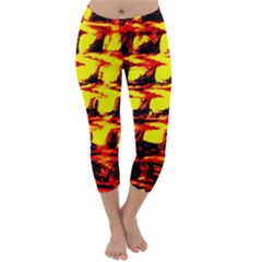 Yellow Seamless Abstract Brick Background Capri Winter Leggings