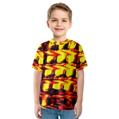 Yellow Seamless Abstract Brick Background Kids  Sport Mesh Tee