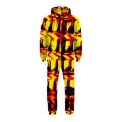 Yellow Seamless Abstract Brick Background Hooded Jumpsuit (kids)