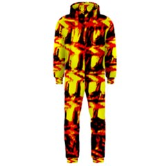 Yellow Seamless Abstract Brick Background Hooded Jumpsuit (men)