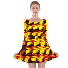 Yellow Seamless Abstract Brick Background Long Sleeve Skater Dress
