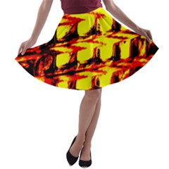 Yellow Seamless Abstract Brick Background A Line Skater Skirt