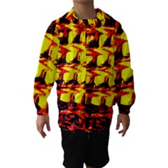 Yellow Seamless Abstract Brick Background Hooded Wind Breaker (kids)
