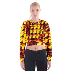 Yellow Seamless Abstract Brick Background Women s Cropped Sweatshirt