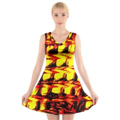 Yellow Seamless Abstract Brick Background V Neck Sleeveless Skater Dress