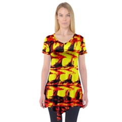 Yellow Seamless Abstract Brick Background Short Sleeve Tunic