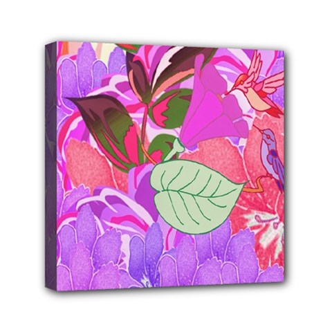 Abstract Design With Hummingbirds Mini Canvas 6  x 6