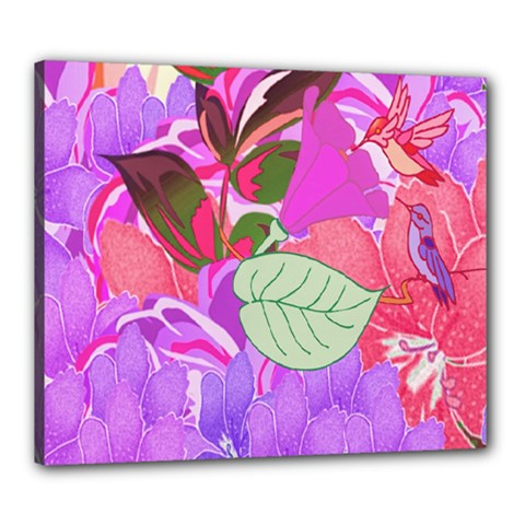 Abstract Design With Hummingbirds Canvas 24  x 20