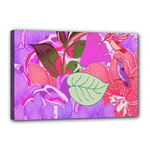 Abstract Design With Hummingbirds Canvas 18  X 12
