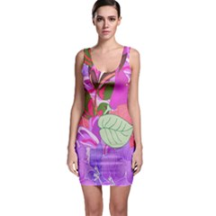 Abstract Design With Hummingbirds Sleeveless Bodycon Dress