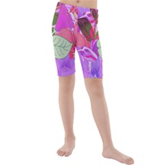 Abstract Design With Hummingbirds Kids  Mid Length Swim Shorts
