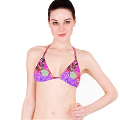 Abstract Design With Hummingbirds Bikini Top