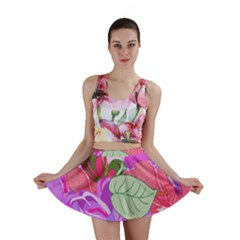 Abstract Design With Hummingbirds Mini Skirt