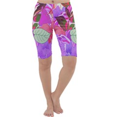Abstract Design With Hummingbirds Cropped Leggings