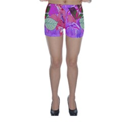 Abstract Design With Hummingbirds Skinny Shorts