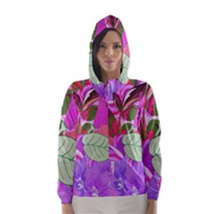 Abstract Design With Hummingbirds Hooded Wind Breaker (women)