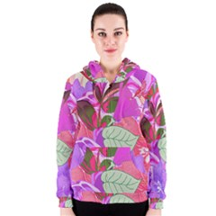 Abstract Design With Hummingbirds Women s Zipper Hoodie
