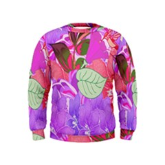 Abstract Design With Hummingbirds Kids  Sweatshirt