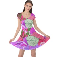 Abstract Design With Hummingbirds Cap Sleeve Dresses