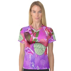 Abstract Design With Hummingbirds Women s V Neck Sport Mesh Tee