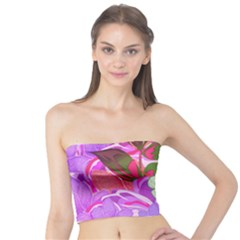 Abstract Design With Hummingbirds Tube Top