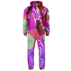 Abstract Design With Hummingbirds Hooded Jumpsuit (Men)