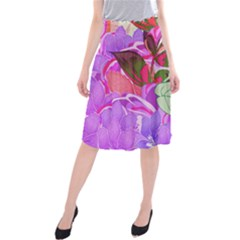 Abstract Design With Hummingbirds Midi Beach Skirt