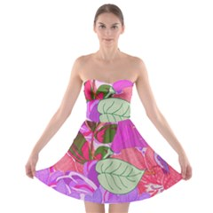 Abstract Design With Hummingbirds Strapless Bra Top Dress