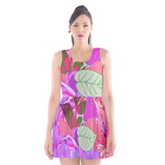 Abstract Design With Hummingbirds Scoop Neck Skater Dress